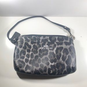 Coach Grey Leopard print black clutch wristlet